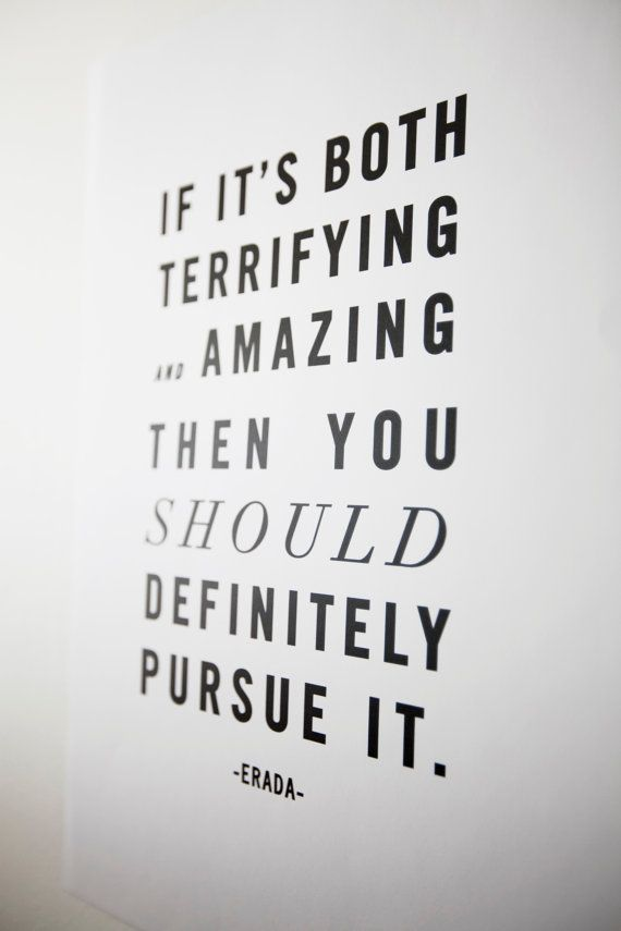 If it's both terrifying and amazing, then you should definitely pursue it
