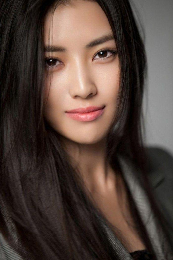 0 maquillage yeux bridés femme moderne asiatique levres roses yeux marrons