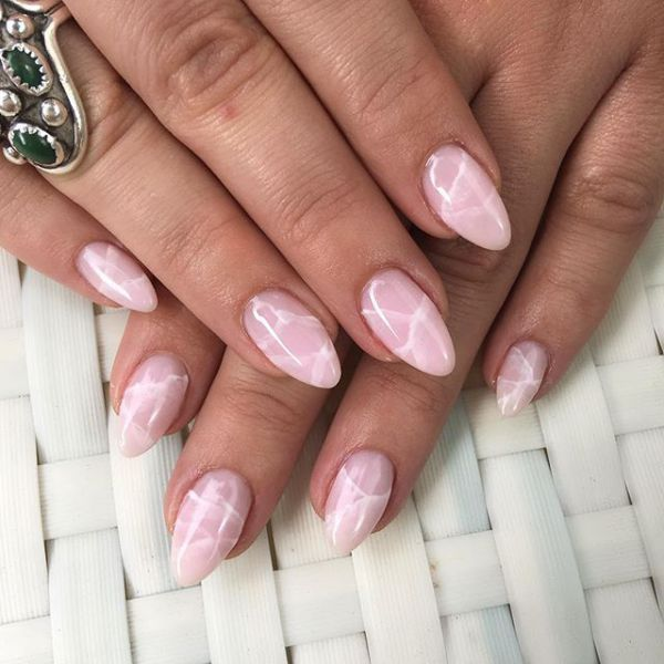 Rhe newest trend od 2017, RoseQuartz nails! I want these....5 Best Crystal Quartz Nail Art Designs to Try   StyleCaster