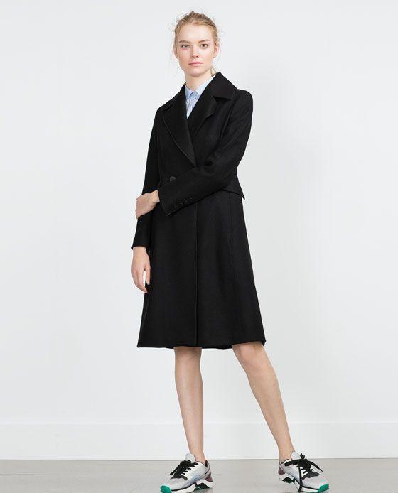 zara femme manteau long en laine revers vestes co 39 pinterest manteaux laine et zara. Black Bedroom Furniture Sets. Home Design Ideas
