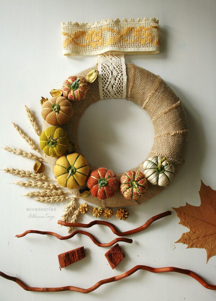 decoración otoñal. Crear una corona con los textiles calabazas - Masters - Feria artesanal, hecho a mano
