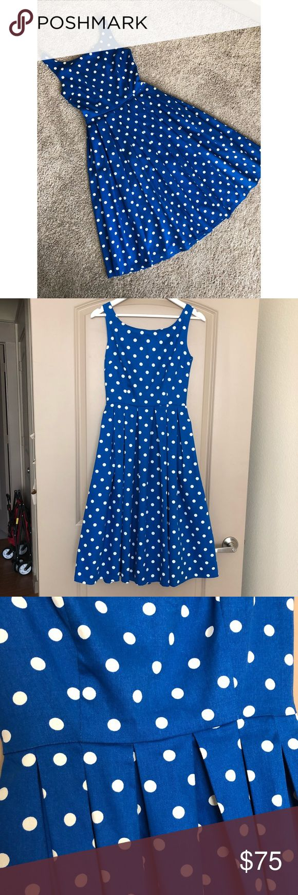 NWT Polka Dot Pocket Midi Dress NWT royal blue dress with fitted bodice, concealed back zipper, full pleated midi skirt, & POCKETS! This is preciousness in its truest form. Size 2. Runs generous. Fits size 2-6.  97% Cotton 3% Elastane  Wash cold. Dresses Midi