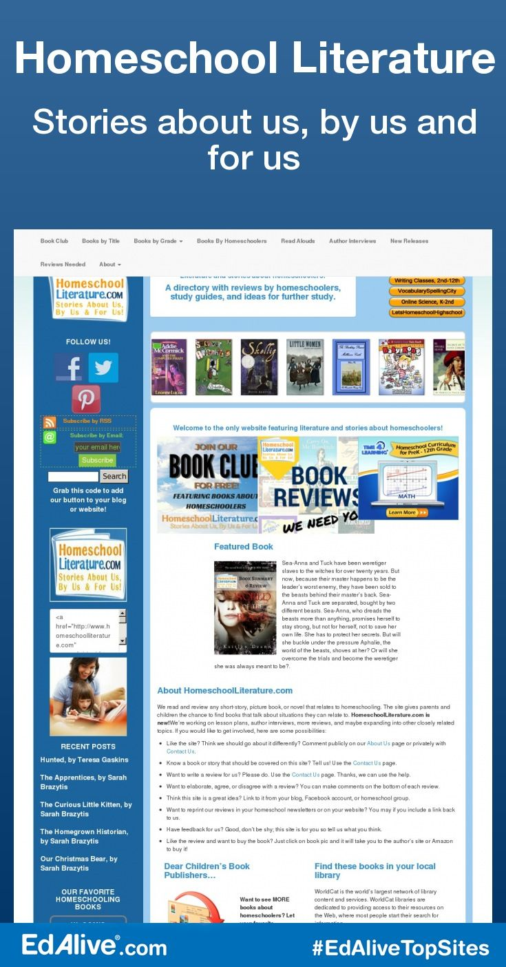 Stories about us, by us and for us   Created to highlight fiction books that feature homeschooled characters or home education situations. We understand that homeschoolers don't always see themselves mirrored in mainstream children's fiction, so we wanted to create a site that was focused on books homeschoolers could identify with. We have read and reviewed each book personally. #HomeSchooling #EdAliveTopSites