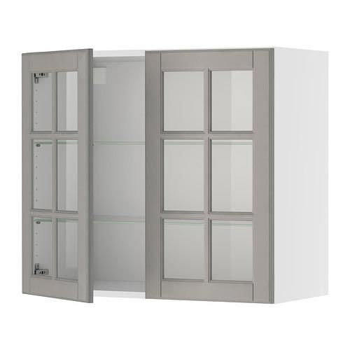 IKEA   AKURUM, Wall Cabinet With 2 Glass Doors, Birch Effect, Lidi Gray,