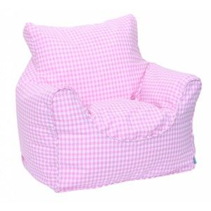 Furniture Funny Pink Bean Bag Chair Design Ideas With Adorable Gingham Cover