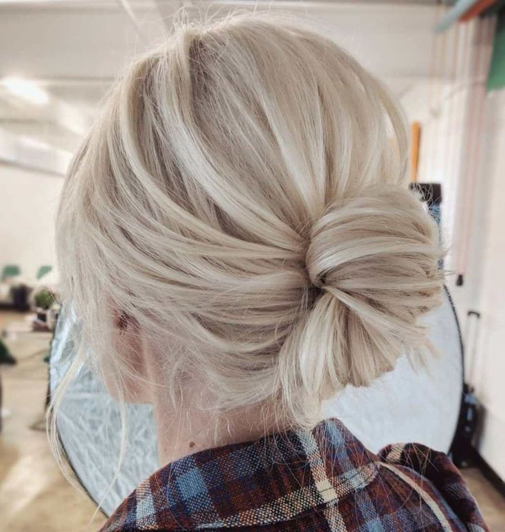 60 Hottest Ups for Medium-Length Hair # 38: Loose Rolled Bun …   – Hairstyle