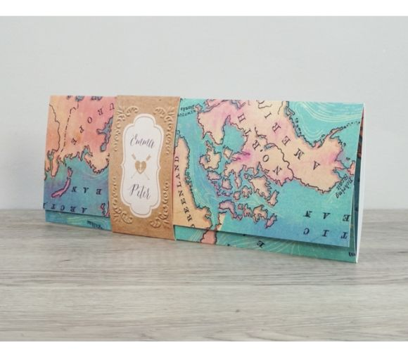 Old world map pocketfold wedding invitation (POCH1-3) by Planet Cards. Gorgeous and luxurious personalised wedding invitations suitable for destination weddings, weddings abroad, vintage wedding themes, travel wedding themes ...