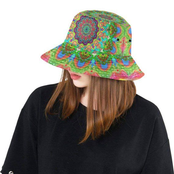 Bucket hat- women's hat-formal hat- hand painted original design- premium cotton- handmade to order-birds mandala – fotos wuapas