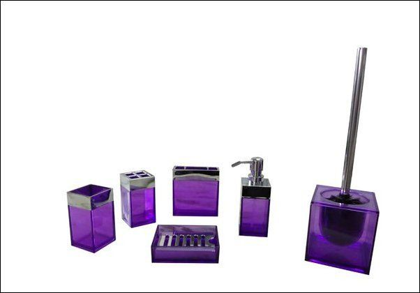 purple bathroom accessories set