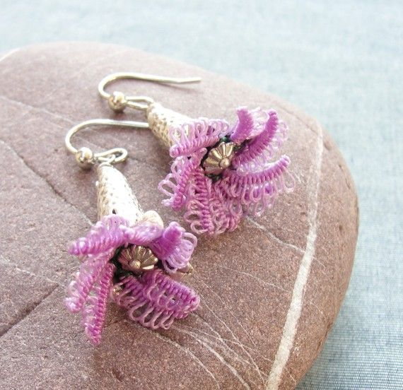 The Oya Collection - Lila Tatting Flower Earrings