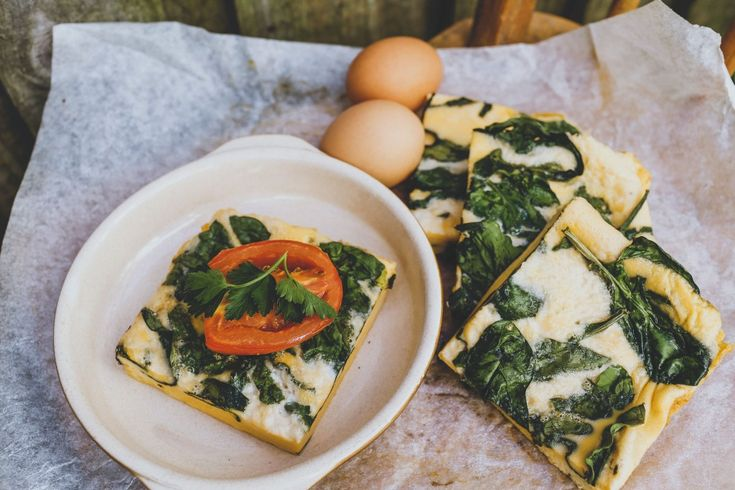 Spinach Egg Slice with Roast Tomatoes: A satisfying, nourishing breakfast option. The coconut cream in this recipe gives the cooked slice a beautiful texture.