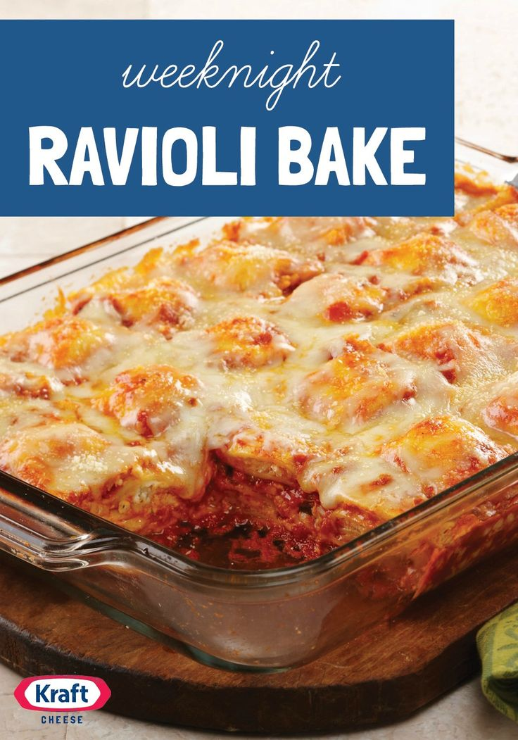 Weeknight Ravioli Bake —Layers of frozen ravioli are the not-so-secret star of this bubbly, lasagna-like bake that's easy to assemble on even the busiest of weeknights.
