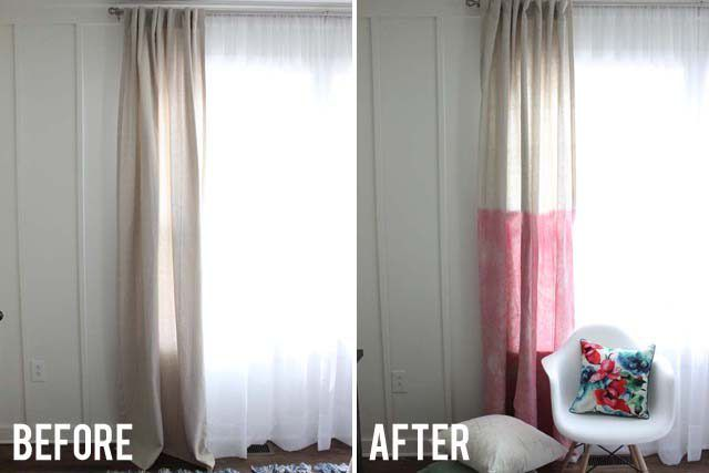 Brighten up your bland, neutral curtains with some fabric dye. Dip-dyed or fully dyed curtains create a statement and transform any room.