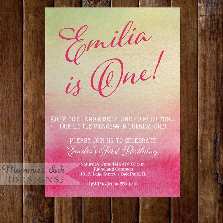 wording ideas forst birthday party invitation%0A Watercolor Watermelon Hues First Birthday Invitation Birthday Invite   Pink Hot Pink and Green Ombre