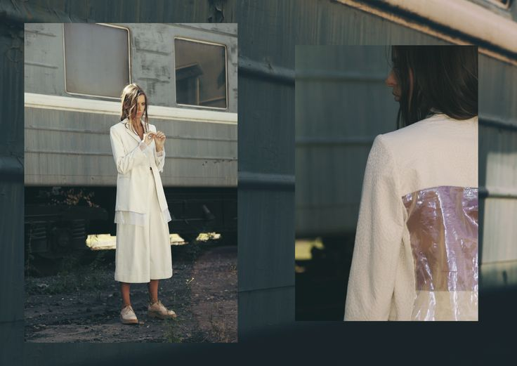 ANOUKI | White textured jacket with sheer back and white cullotes.