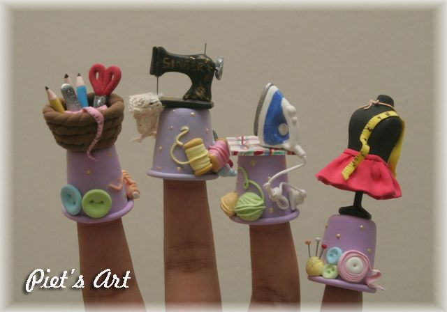 Thimble sewing from clay