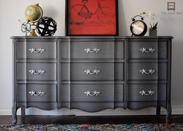 Thrift shop dresser makeover with dark gray chalk paint. Then glazed with black latex paint mixed with clear Valspar glaze.