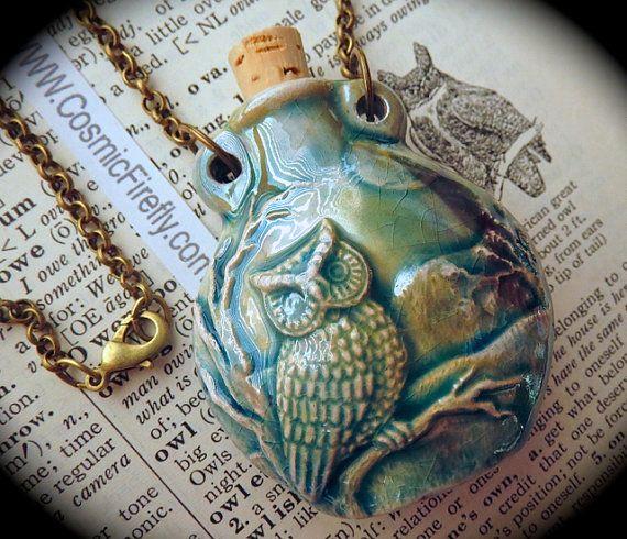Blue Owl Necklace Rustic Blue Raku Ceramic Bottle Necklace Antiqued Brass Rolo Chain Pendant Necklace Cork Bottle Holds Essential Oils