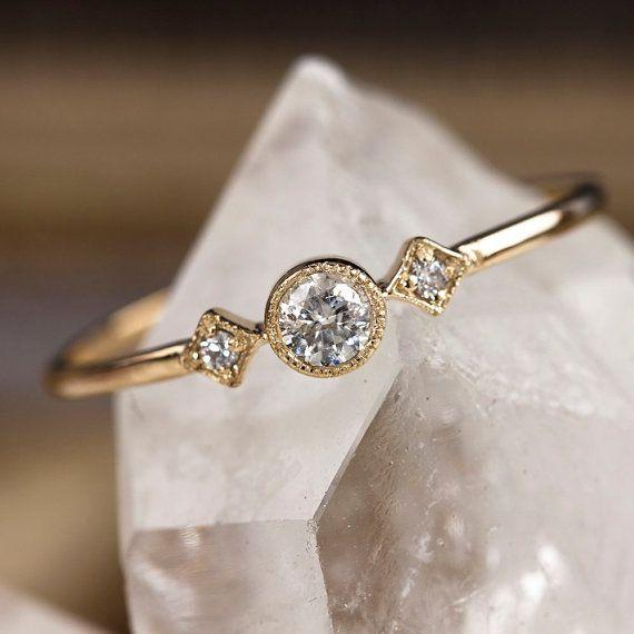 Bague de fiançailles unique 14 k or massif anneau par EnveroJewelry