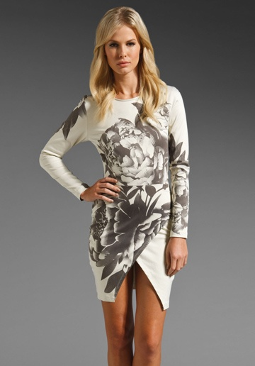 MAURIE & EVE Madison Long Sleeve Dress in Grey Bloom at Revolve Clothing