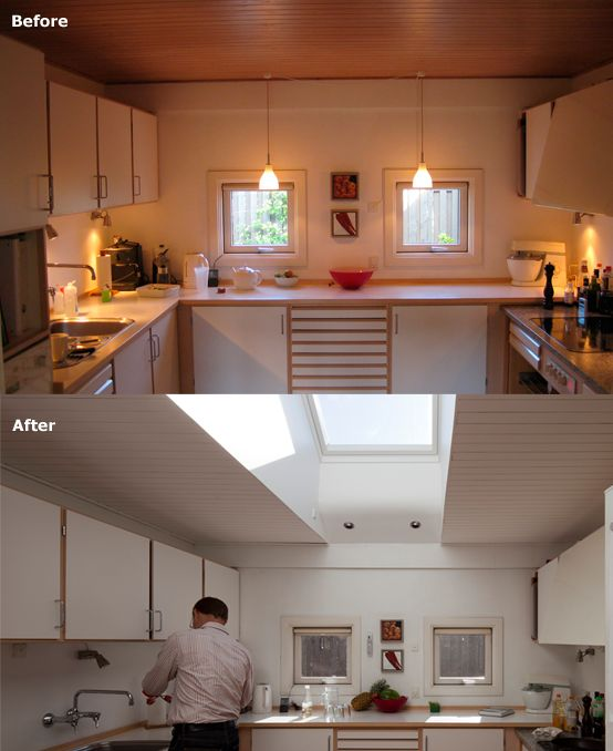 Choose an area of improvement for your kitchen remodel. What is the one thing you wish could be better? In this example, the simple focus on lighting makes this kitchen look completely new. If you're lucky to have extra room above, use your attic for building a roof window that gives you natural light for your gourmet dinners.