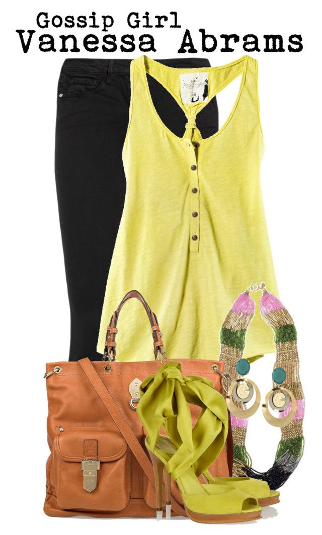 """""""Gossip girl- Vanessa Abrams"""" by darcy-watson ❤ liked on Polyvore featuring Frame Denim, H&M, Juicy Couture, Mulberry, Diane Von Furstenberg and Erickson Beamon"""
