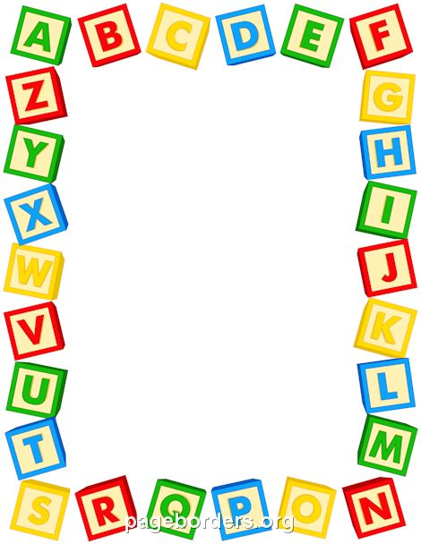 Printable alphabet blocks border. Use the border in Microsoft Word or other programs for creating flyers, invitations, and other printables. Free GIF, JPG, PDF, and PNG downloads at http://pageborders.org/download/alphabet-blocks-border/