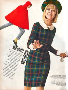 Tartan dress and red cape 60s mod school girl librarian office round collar matching hat blue red plaid