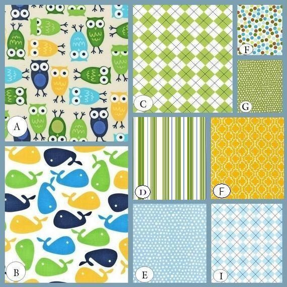 Coordinating fabrics for owl baby blanket