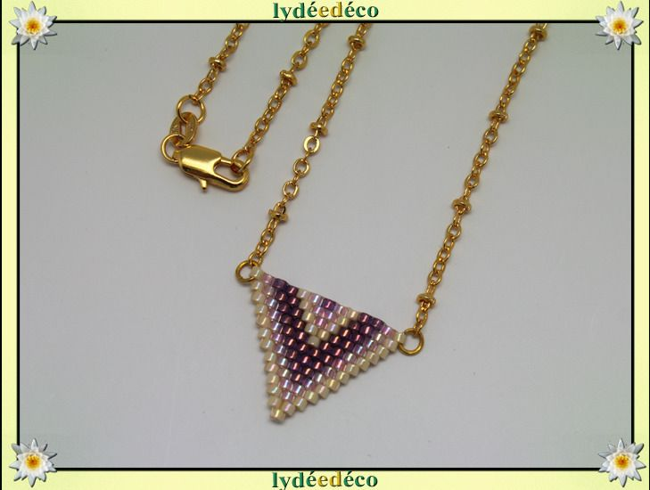 Collier plaque or 18K bleu violet rose pastel beige tissage triangle chevron chaine boule : Collier par lydeedeco