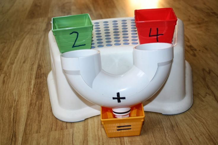 """Addition Machine"" ~ Using a drain from the hardware store. Love this free make-it-yourself idea!"