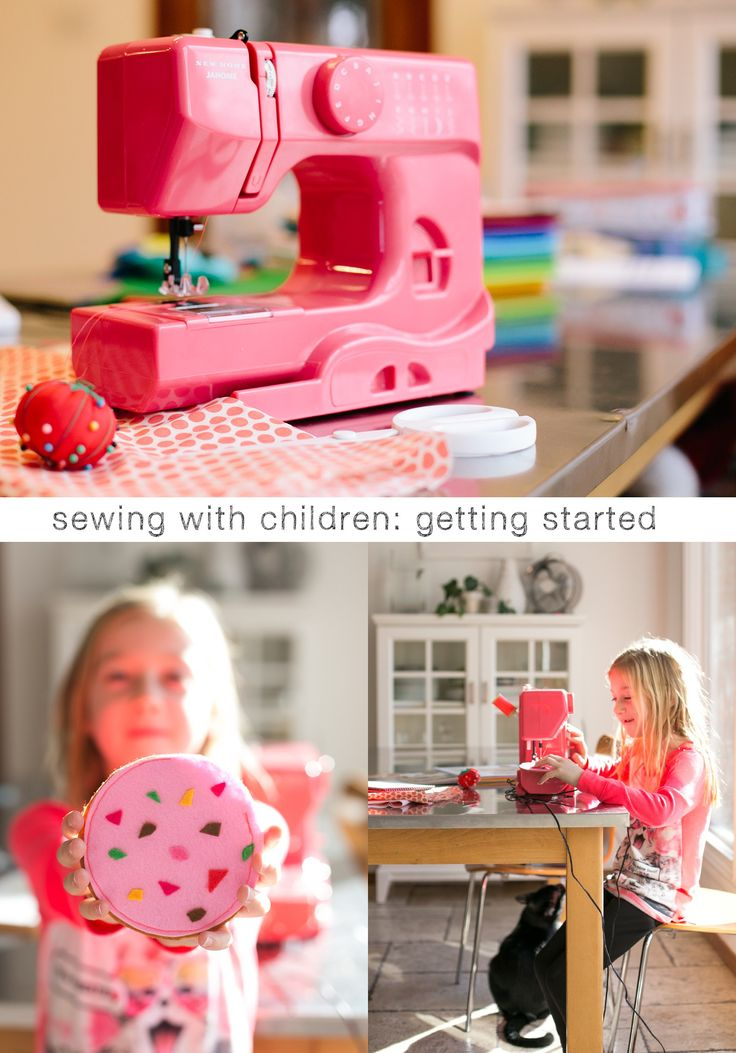 Sewing with kids: Getting Started. Great post for anyone considering a sewing machine as a gift for a child.