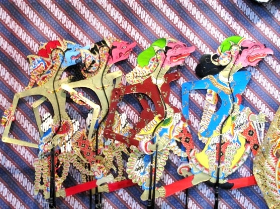 Leather traditional puppets made in Bantul, Jogja, Indonesia.