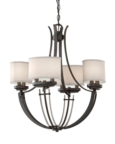 Murray feiss brody chandelier contemporary chandelier with a colonial iron finish and white linen shades