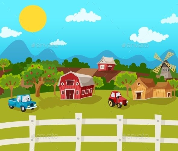 Farm Cartoon Background by macrovector Farm cartoon background with apple garden in rural landscape vector illustration. Editable EPS and Render in JPG format