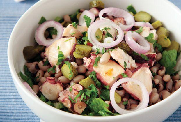 Octopus and black-eyed peas salad   { Food }   Pinterest