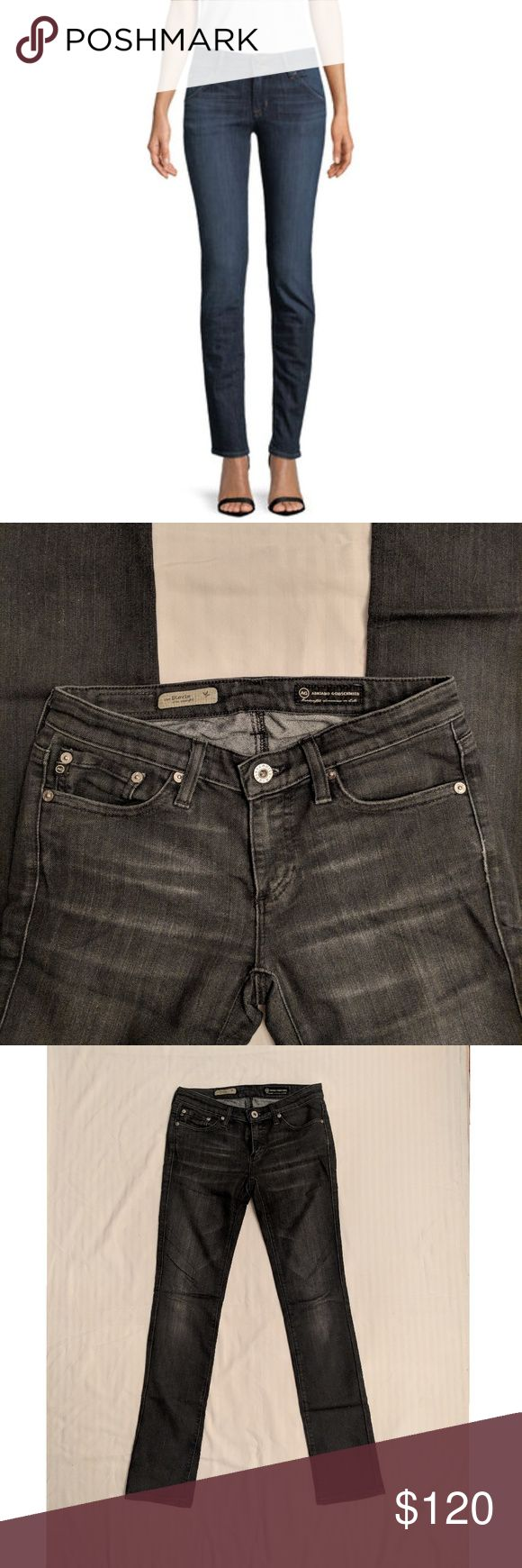 """AG Jean's - the Stevie slim straight - dark jeans EUC AG jeans in a faded dark blue wash. Straight leg fits narrow at the ankle can almost pass as a skinny jean.  31"""" inseam Ag Adriano Goldschmied Jeans Straight Leg"""