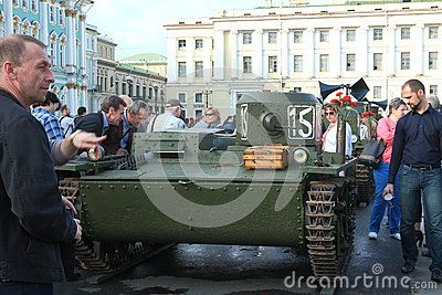 Soviet amphibious scout tank T-38. This tank was involved in World War II. Restored by search engines. Palace Square. Saint-Petersburg, Russia