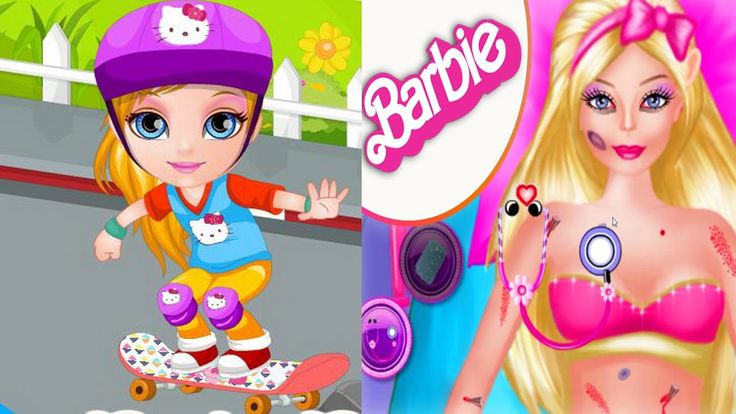 Baby Barbie Skateboard Accident | Disney Baby Barbie Game For Girls