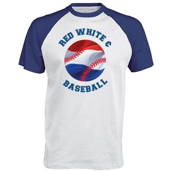 Honkbal tee Red White & Baseball | vanSHIRTJEtotSHIRTJE