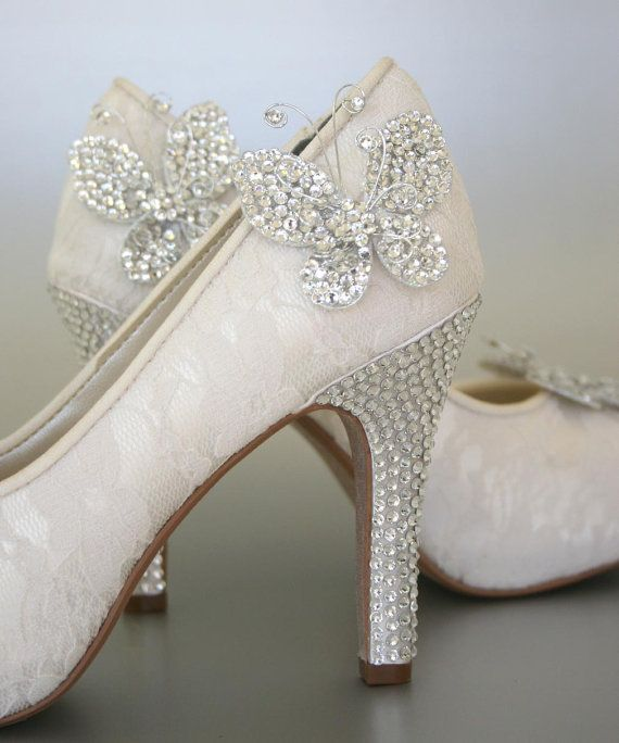 Like these too but no butterflies... Wedding Shoes  Ivory Peeptoes with Lace by DesignYourPedestal, $325.00