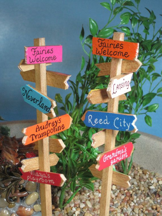 Signpost for Fairy Gardens OOAK by WeeBrigadoon on Etsy, $12.00