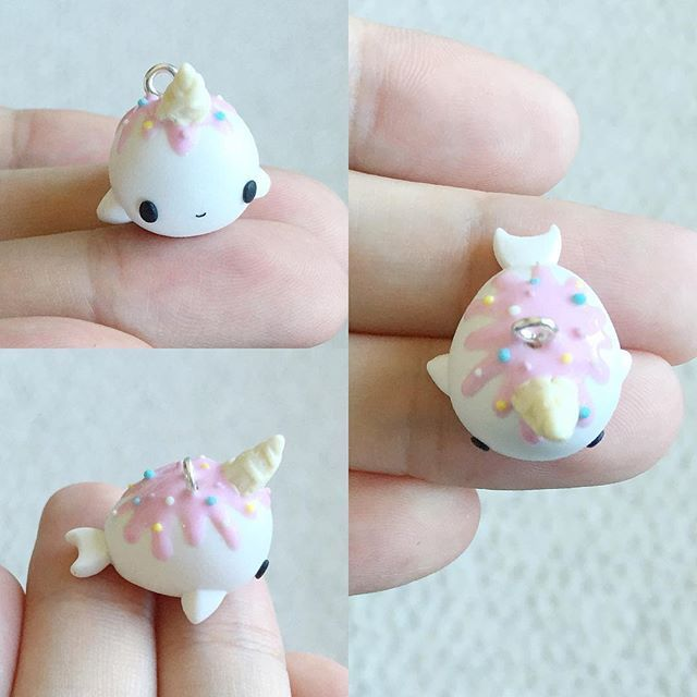 Hehe I made a Nomwhal based on @tastypeachstudios design. It is so adorable I had been dying to make one and finally did. Her designs are so cute that I want to attempt her cube kitties as well #craft