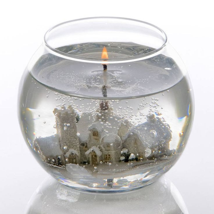 Christmas Village Snow Scene Gel Candle Bowl