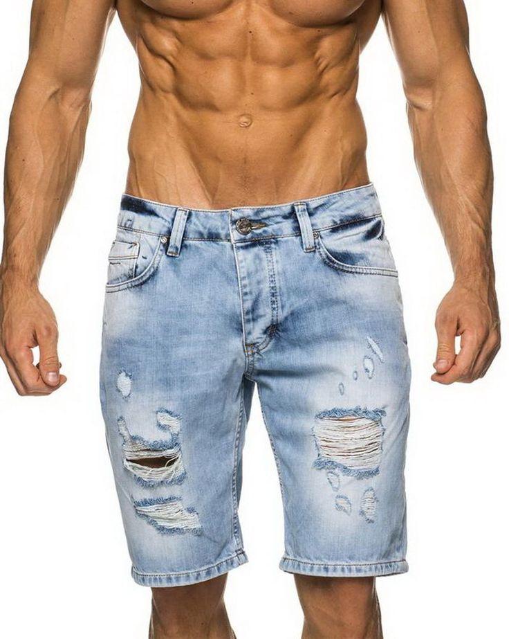 Leif Nelson Jeans Short Bermuda Blue Denim Style kurze Hose Capri Beach Fetzen
