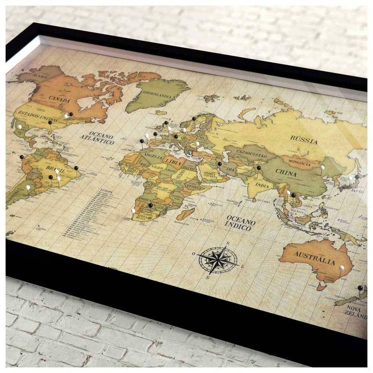 Quadro Box G - Mapa-Múndi Retrô + 100 Pins Alfinetes QUA005A