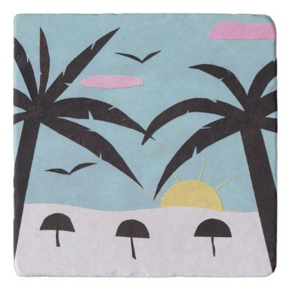 Marble Trivet with Silhouetted Beach Design - marble gifts style stylish nature unique personalize