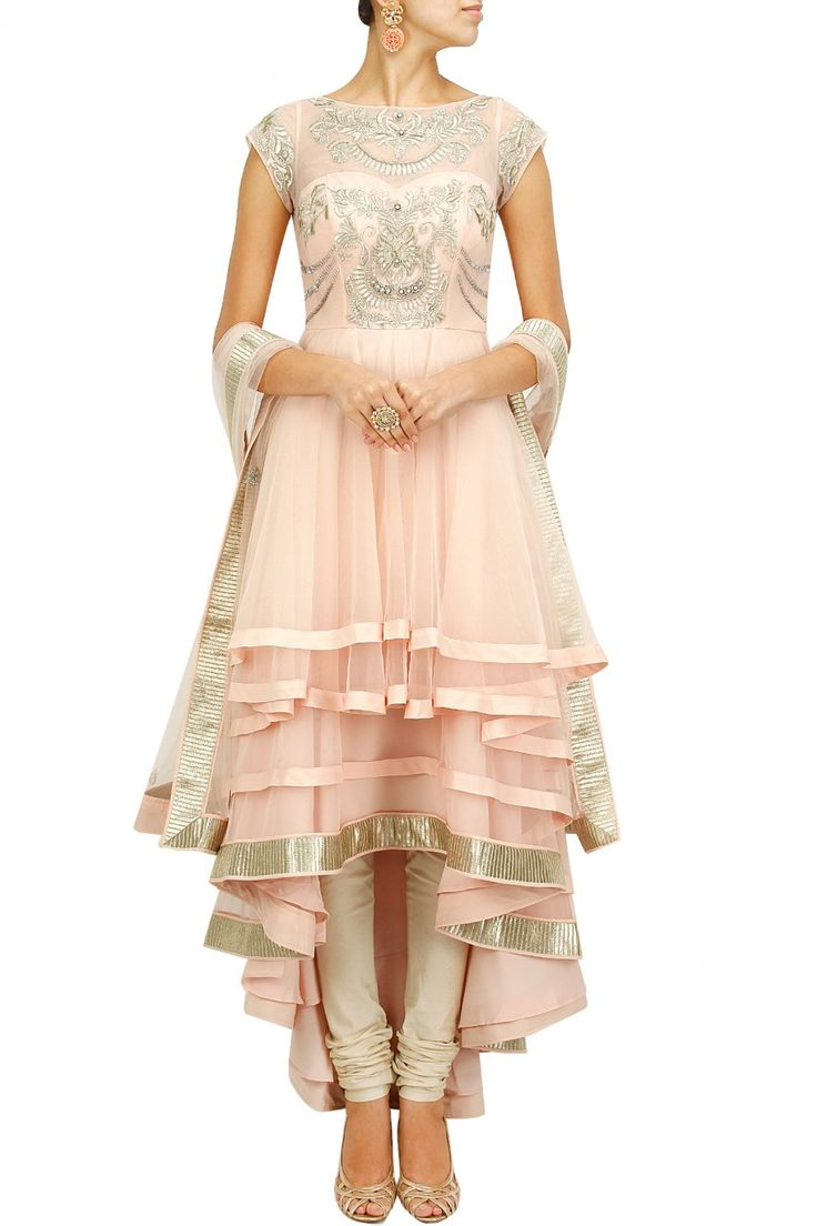 Blush pink embroidered multi layer anarkali set BY JADE BY MONICA AND KARISHMA.