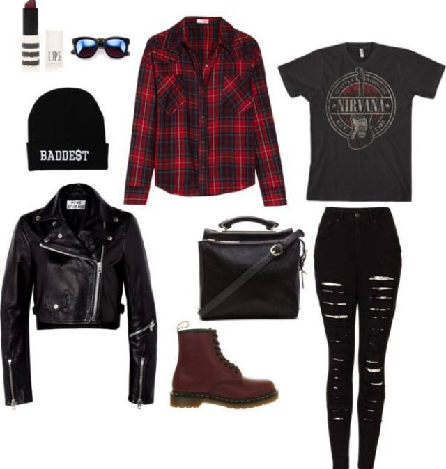 Just the tee, the flannel, the docs, and the jeans...I would wear the jacket, but it's too hot where I live