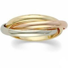 Beautiful Triad Interconnecting Gold Silver and Rose Gold ring!